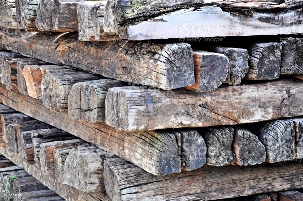 retired old wood log from railway background. - Royalty-free Abstract Stock Photo