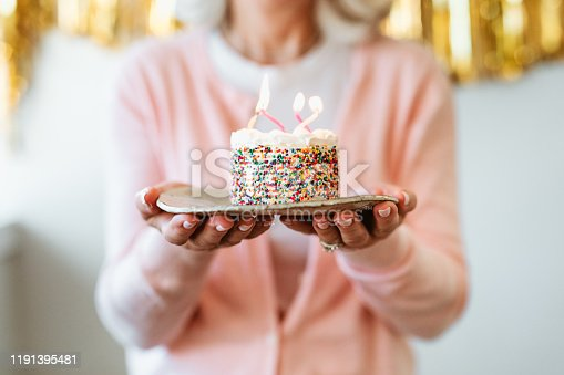 Midsection of retired woman holding cake with burning birthday candles. Senior female is standing with dessert in plate. She is celebrating at home.