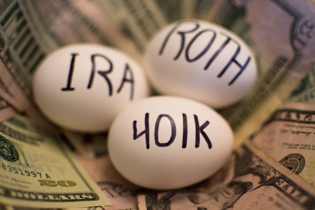 Retirement 401k IRA ROTH Nest Egg 401k IRA ROTH Financial Planning 401k stock pictures, royalty-free photos & images