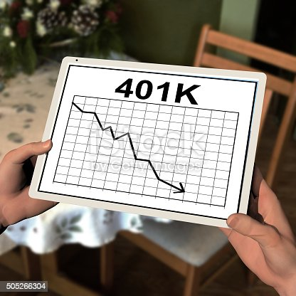 a computer rendered illustration of two hands holding a computer tablet with a chart of a 401K