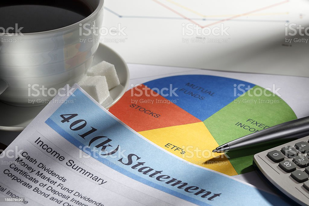 Retirement Account Statement And Pie Chart royalty-free stock photo