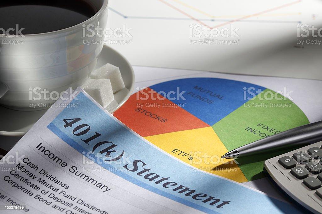 Retirement Account Statement And Pie Chart stock photo