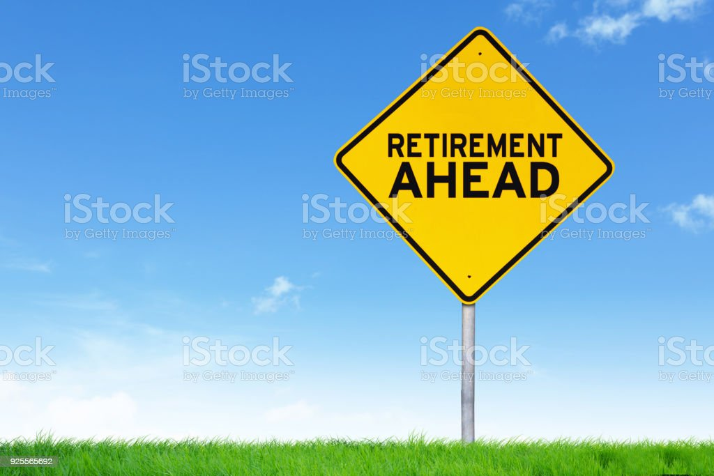 Retirement ahead road sign stock photo