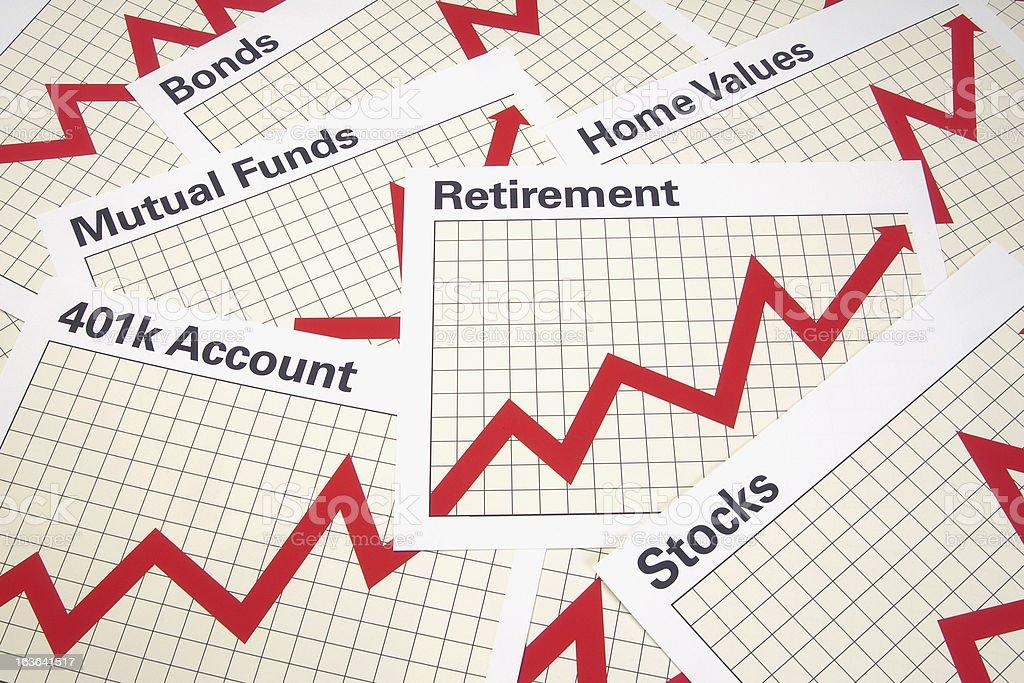 Retirement Charts Background royalty-free stock photo