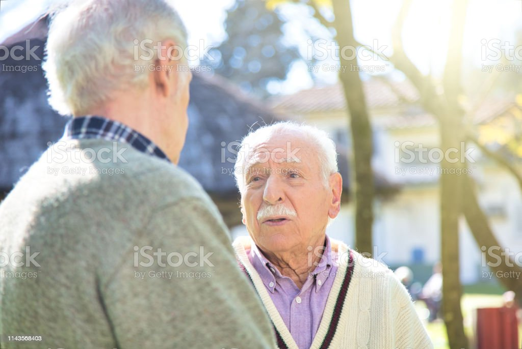 Retirement Community. Retired friends exchange opinions in the...