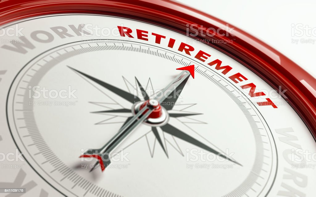 Retirement Concept: Arrow of A Compass Pointing Retirement Text stock photo