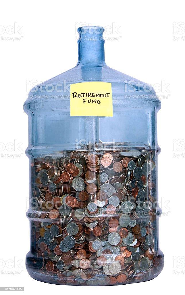 retirement fund full bottle stock photo