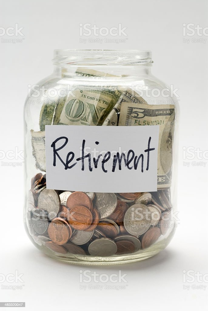 retirement fund savings glass jar royalty-free stock photo