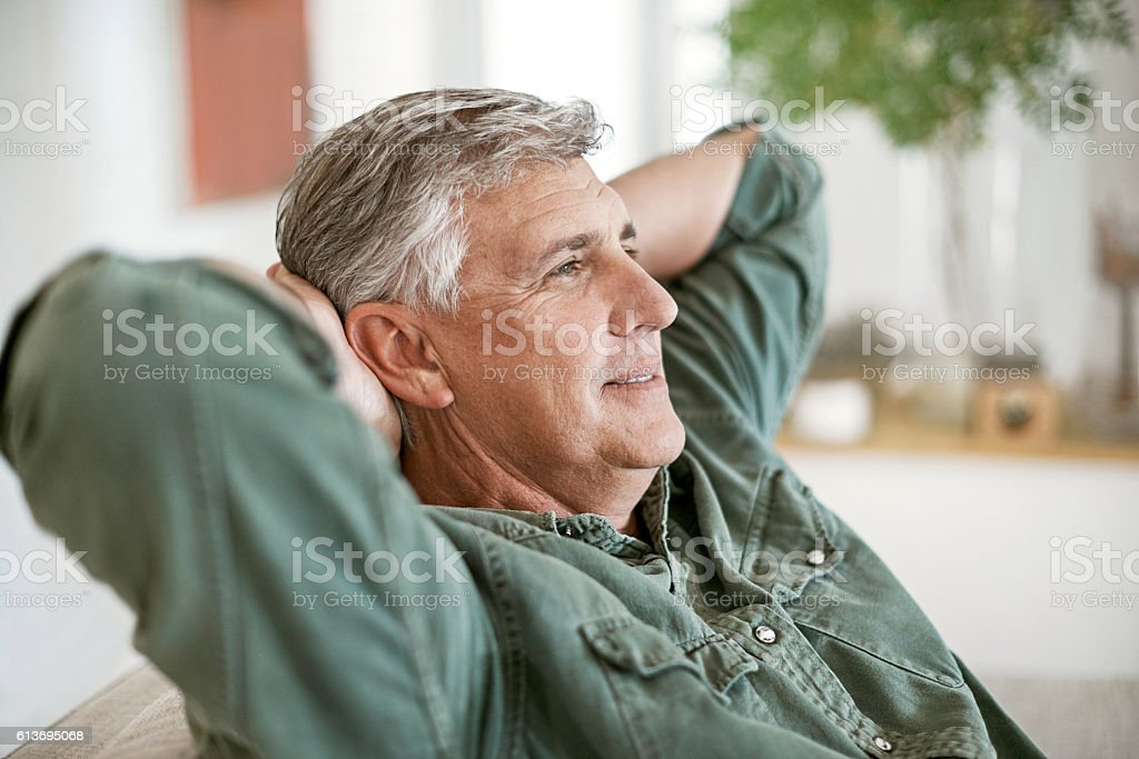 Retirement is just as relaxing as he expected stock photo