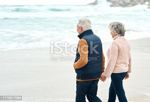 Rearview shot of a senior couple walking along the beach