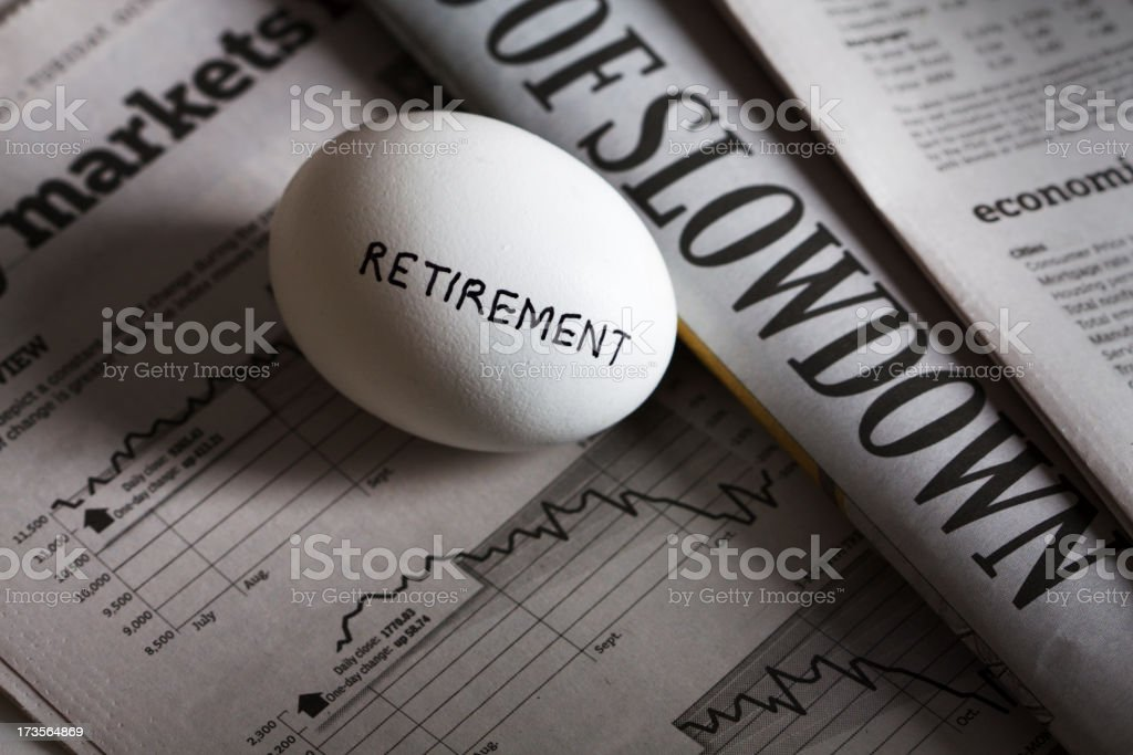 Retirement Nest Egg of Pension, 401K during Recession, Financial Crash royalty-free stock photo