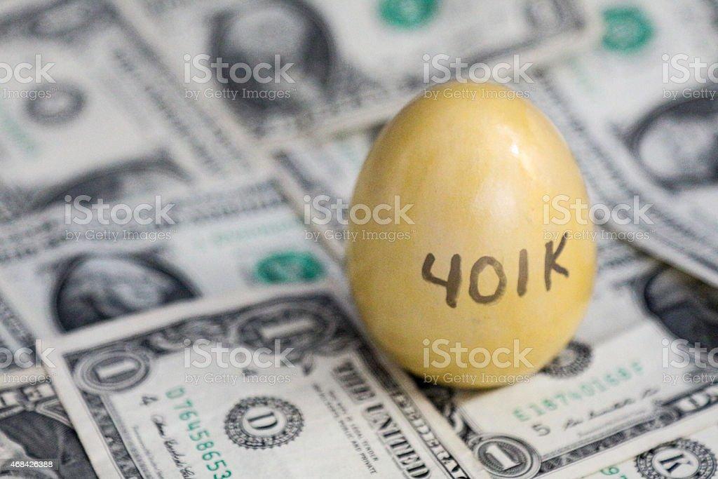 Retirement Nest Egg on Cash stock photo