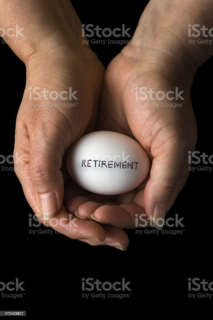 Retirement Pension Savings, Investment Nest Egg Planning and Protection stock photo