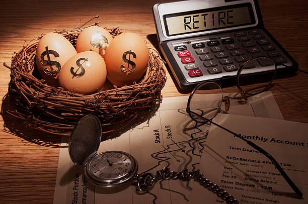 Retirement Plan Low Key concept of Planning for retirement nest egg nest egg stock pictures, royalty-free photos & images