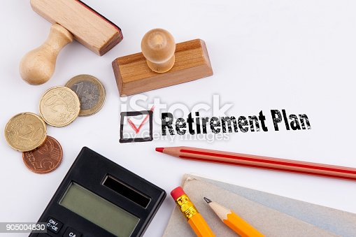 istock retirement plan. Questionnaire with red cross on the white paper 905004830