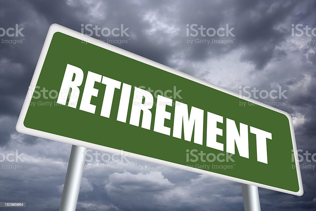Retirement printed on a road sign against a stormy sky royalty-free stock photo