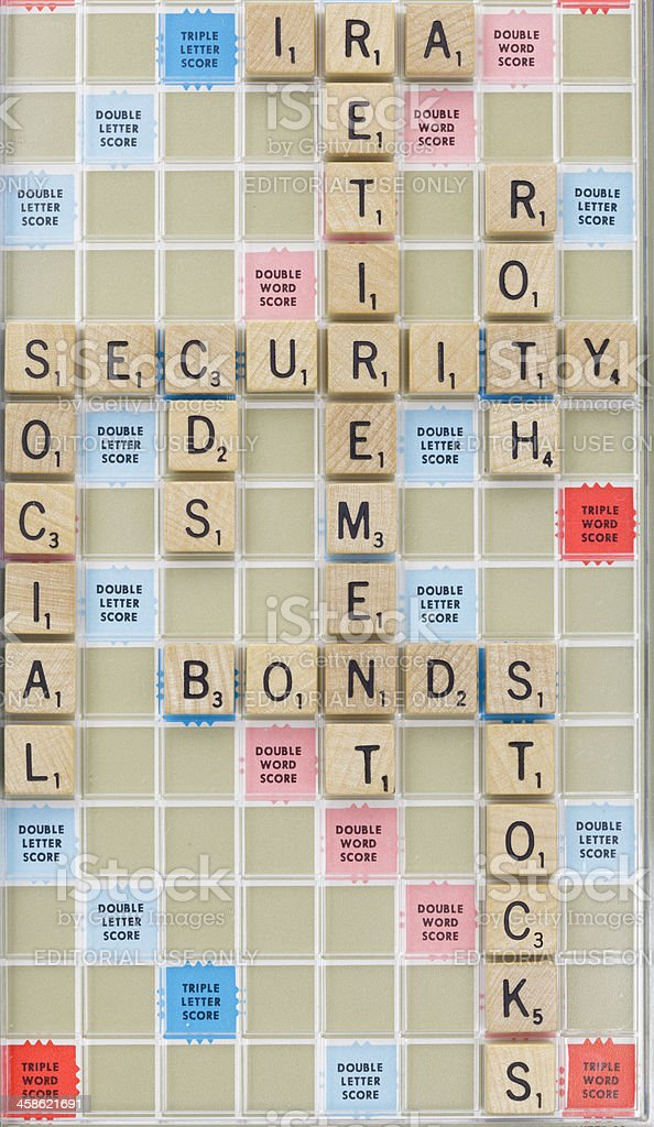 Retirement related Scrabble tile words royalty-free stock photo