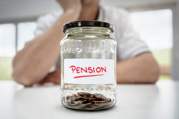 Retirement saving and pension planning stock photo