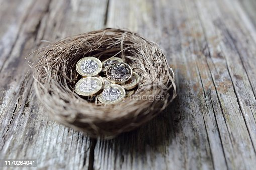 Retirement savings British pound coins in birds nest egg concept for pension plans