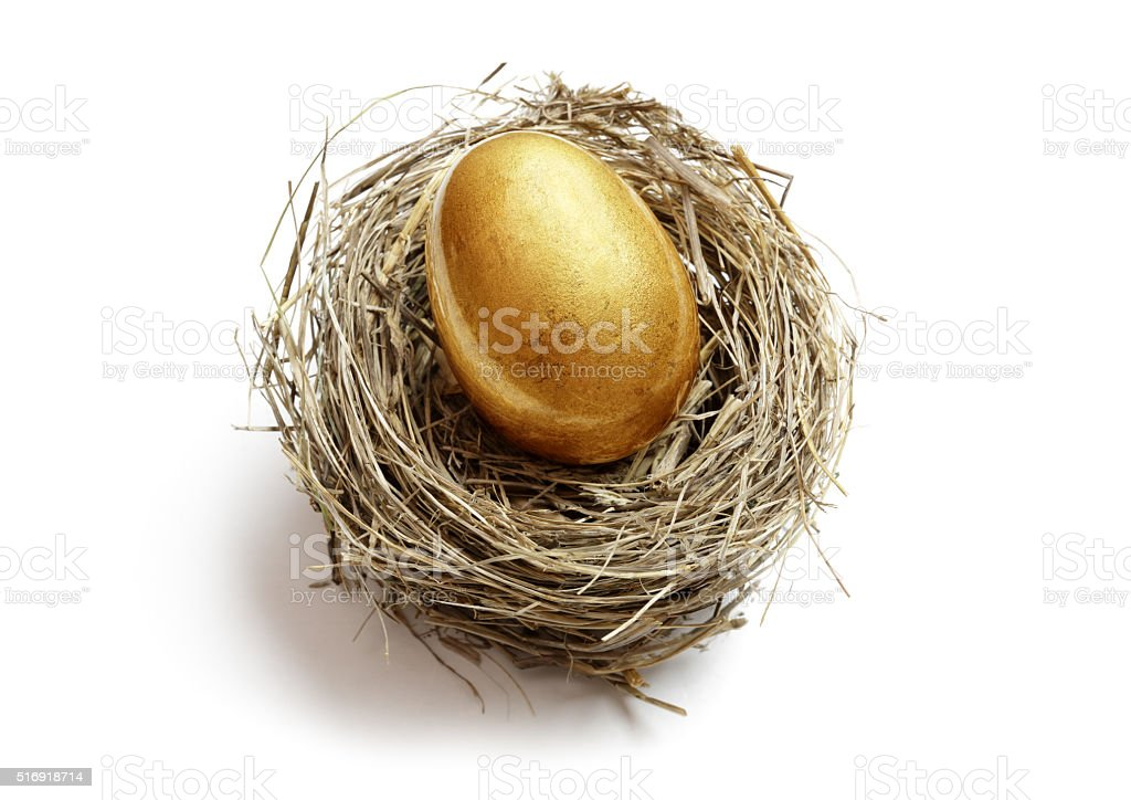 Retirement savings golden nest egg stock photo