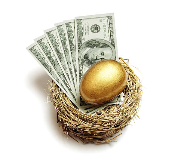 Retirement savings golden nest egg Gold nest egg and money concept for retirement savings and financial planning nest egg stock pictures, royalty-free photos & images