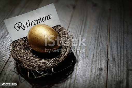 Golden nest egg concept for retirement savings