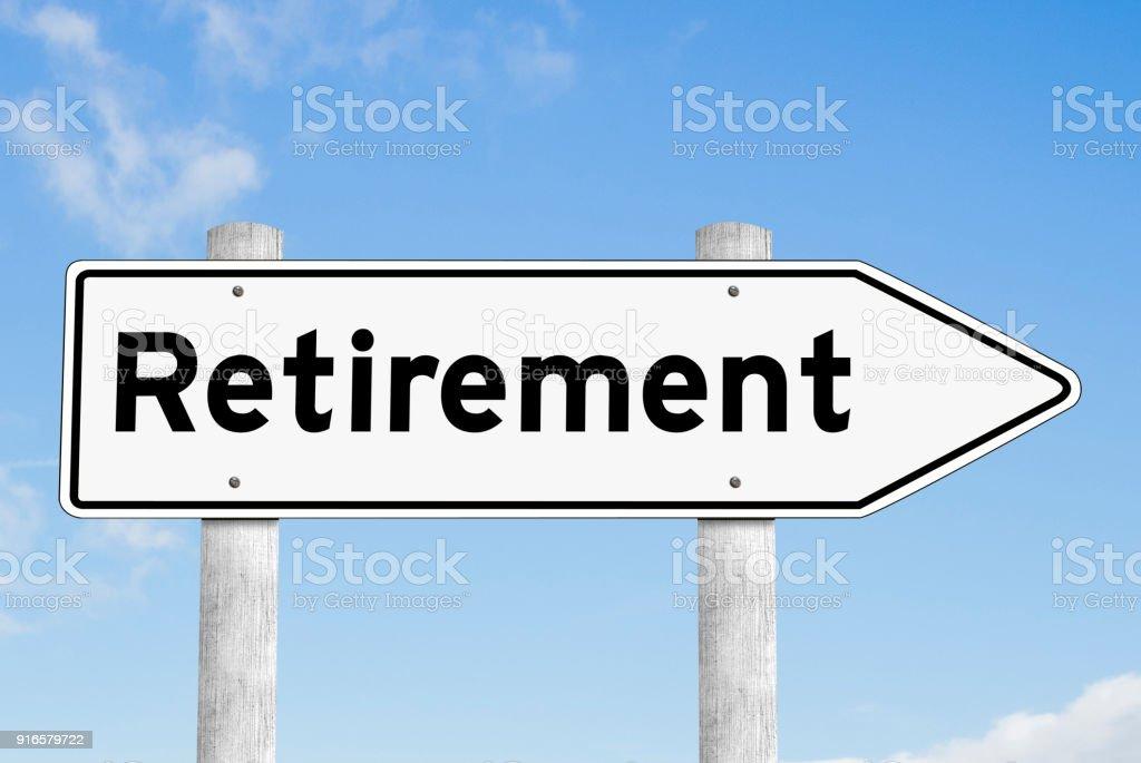 Retirement signpost direction sky stock photo
