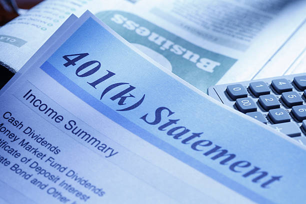 Retirerment Account Statement Close up of a 401(k) statement. 401k stock pictures, royalty-free photos & images