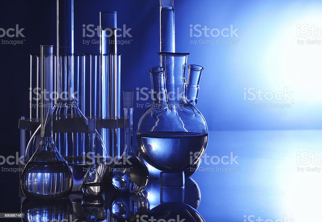 retorts in laboratory royalty-free stock photo
