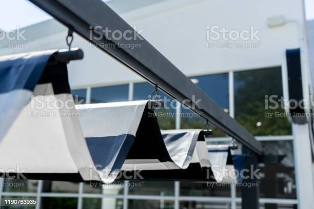 Photo of Retractable awning of roof for protect sun at the garden