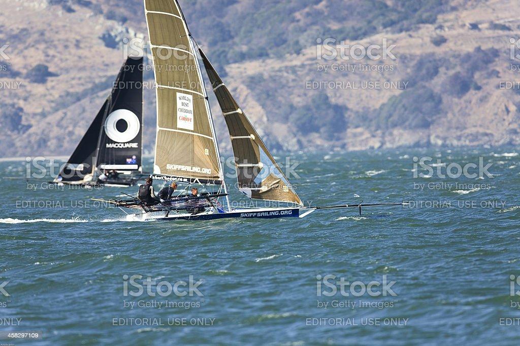 Retractable Bowsprit Racing skiff stock photo