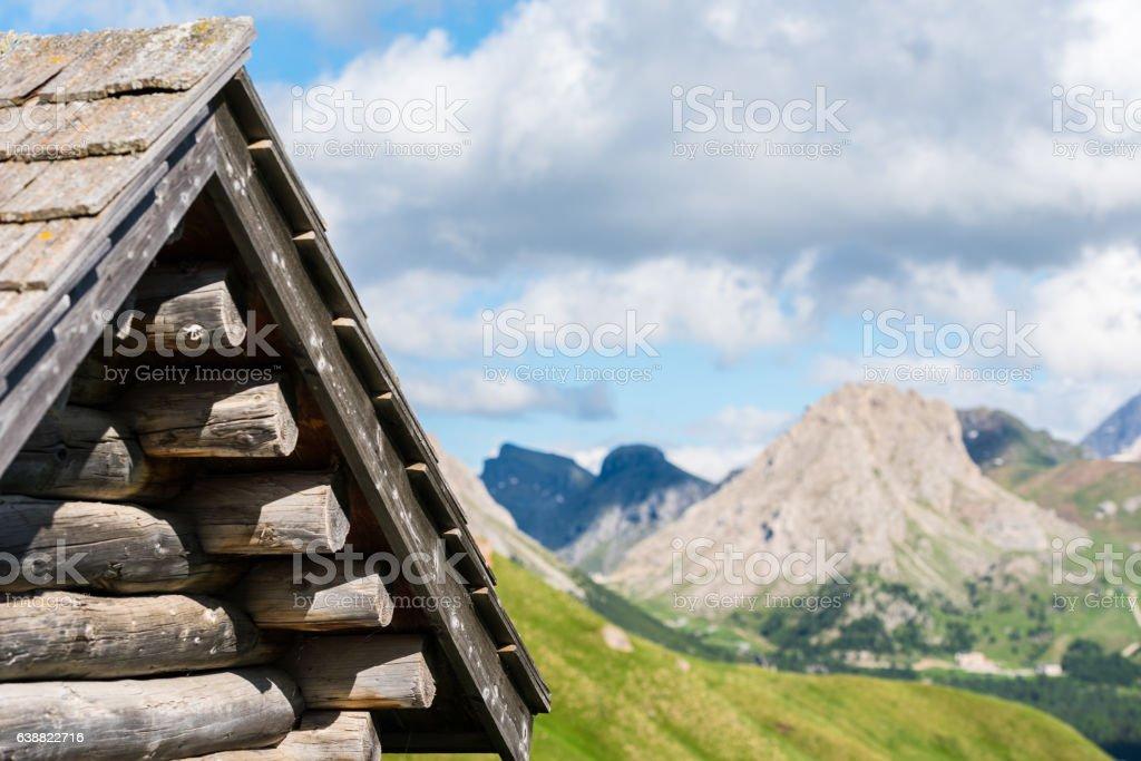Retreat roof in Val di Fassa dolomites stock photo