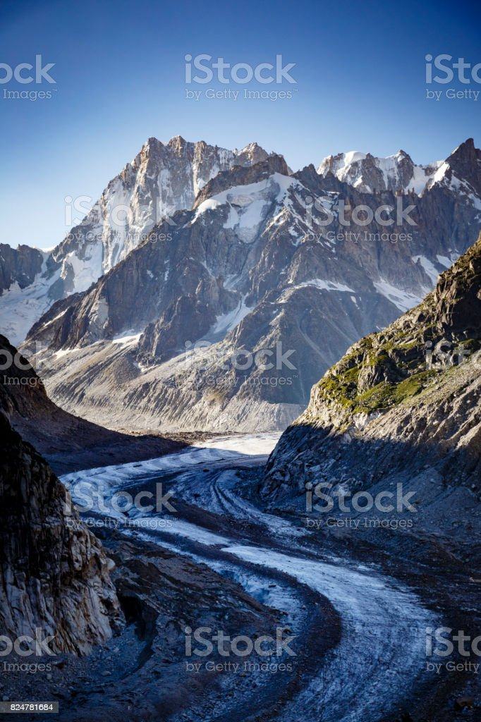 Retreating of the Mer de Glace stock photo