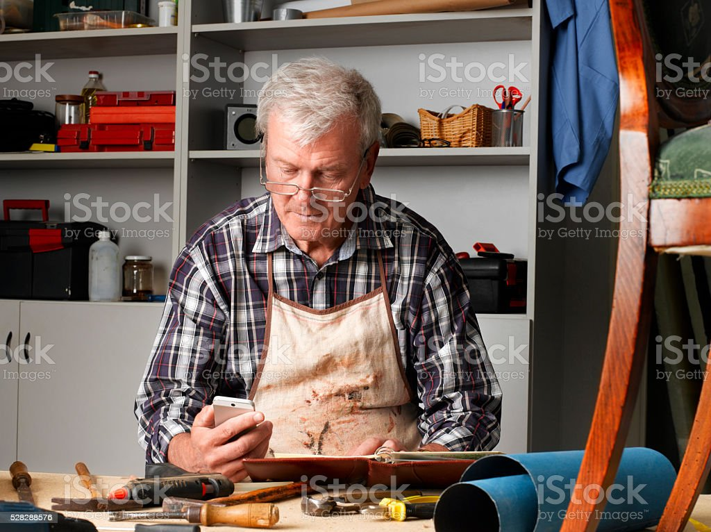 Retried man at work stock photo