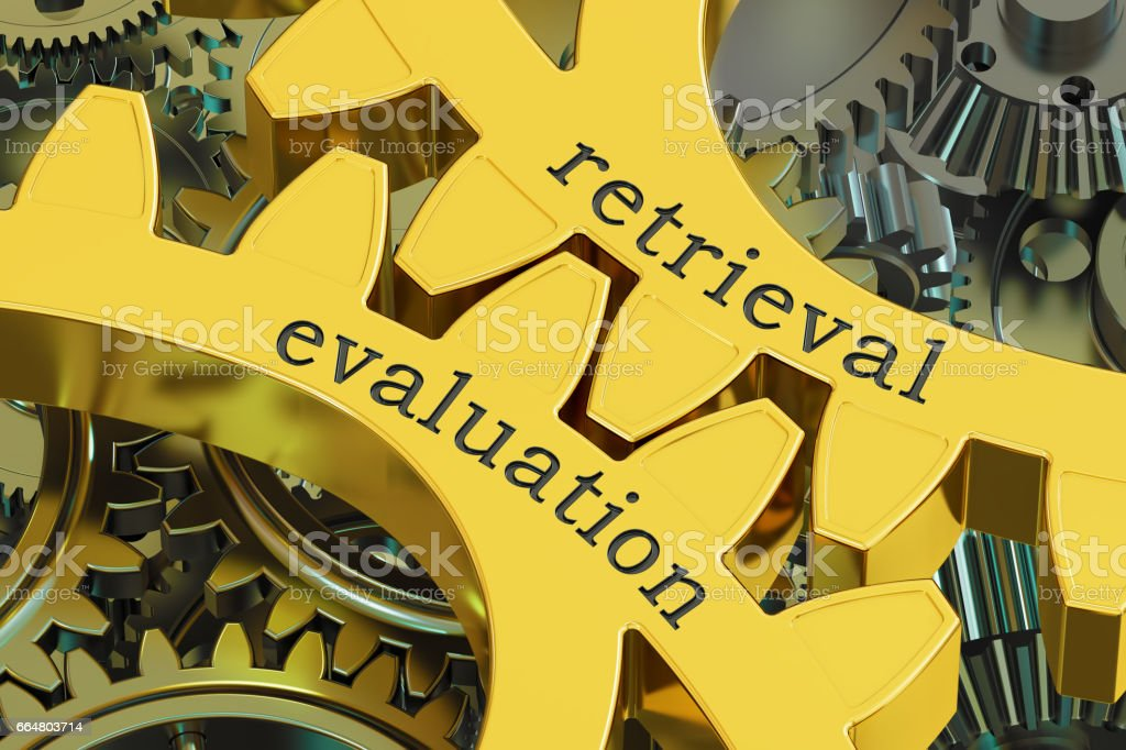 retrieval evaluation concept on the gearwheels, 3D rendering stock photo