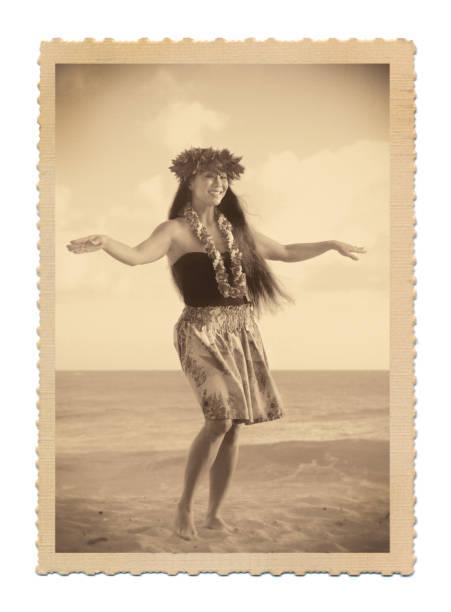 1940s-50s retro estilo vintage hawaiian hula dancer postal foto antigua - postal worker fotografías e imágenes de stock