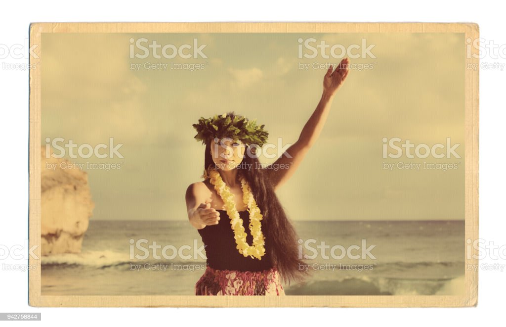1940er Jahre 50er Jahre Retro-Vintage-Stil Hawaiian Hula Tänzerin Postkarte altes Foto – Foto