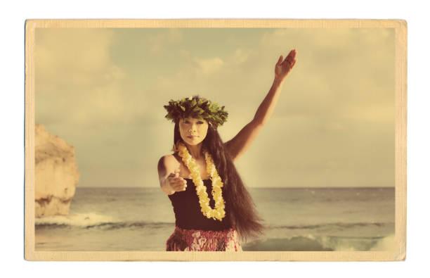 1940s-50s retro estilo vintage hawaiian hula dancer postal foto antigua - sepia imagen virada fotografías e imágenes de stock