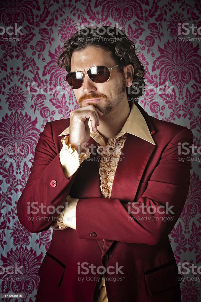 Retro 1970's Mustache ladies man in tuxedo jacket stock photo
