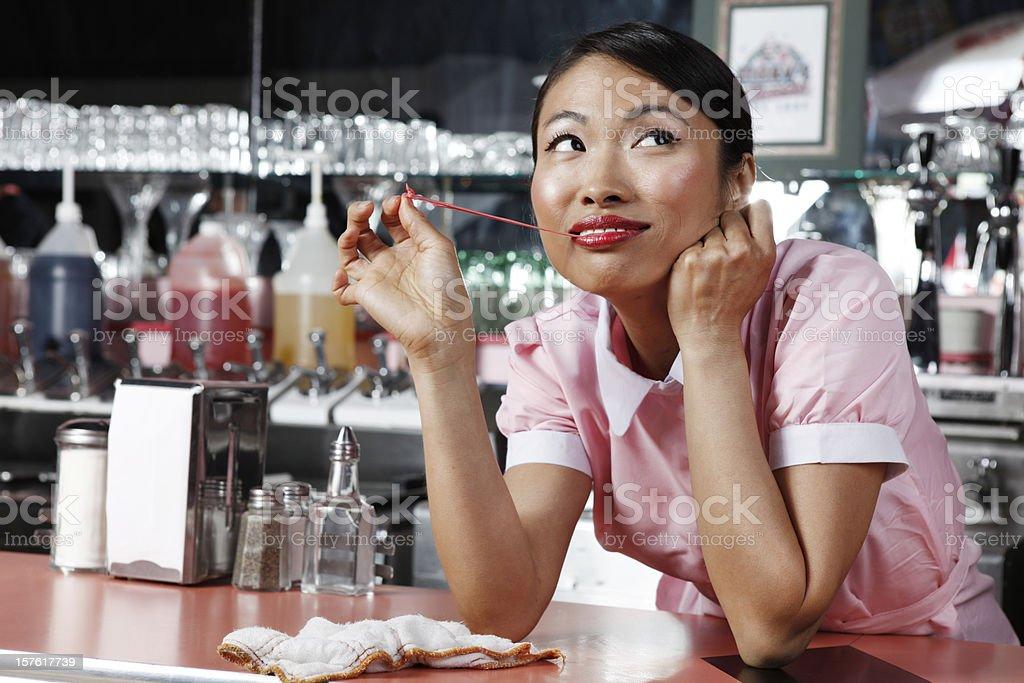Retro 50's Waitress Daydreaming stock photo