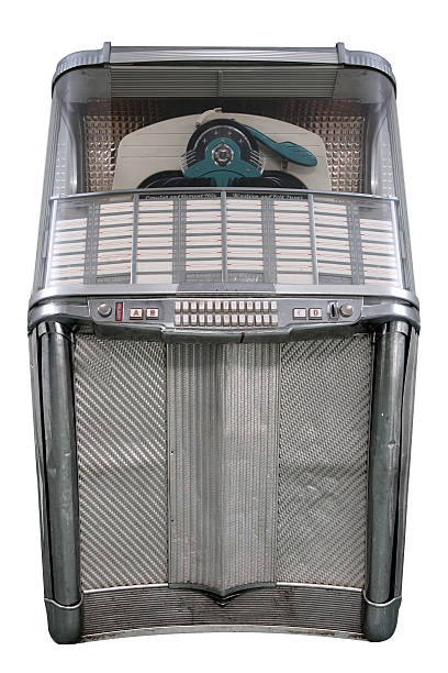 retro 60er jukebox, isoliert auf weiss, vertikale zusammensetzung - chrome menü stock-fotos und bilder