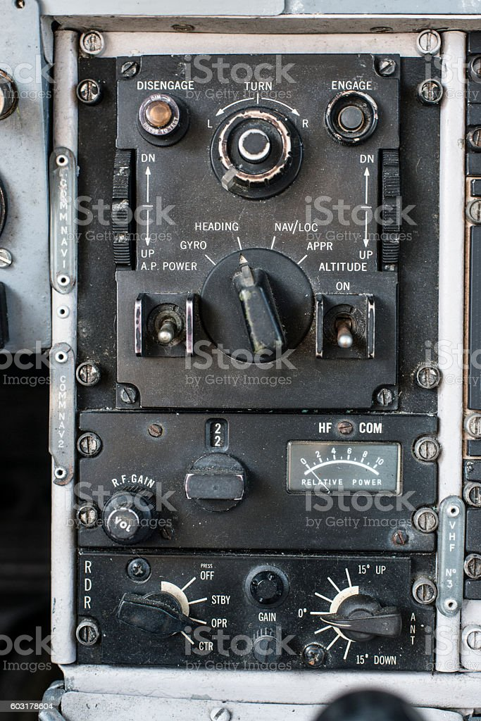 Retro 70's Aircraft cockpit dashboard control board. stock photo