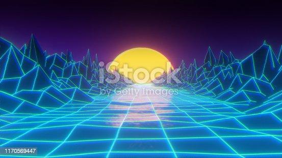 istock Retro 80's digital synthvawe background 1170569447