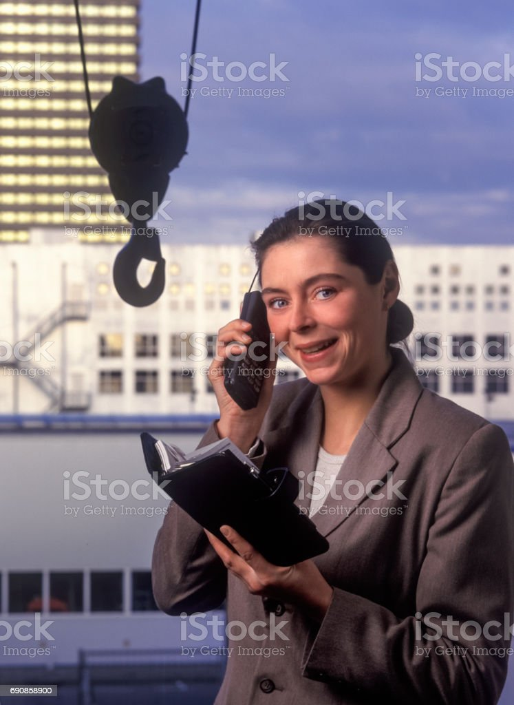 Retro 90's shot of young businesswoman stock photo