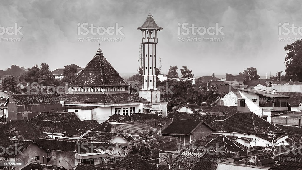 Retro aerial shot of Malang, Java, Indonesia stock photo