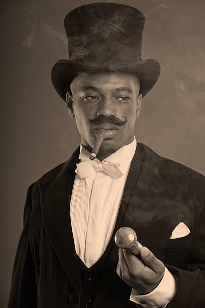 retro-afro amerikanische dickens scrooge mann mit schnurrbart. - charles dickens weihnachtsgeschichte stock-fotos und bilder