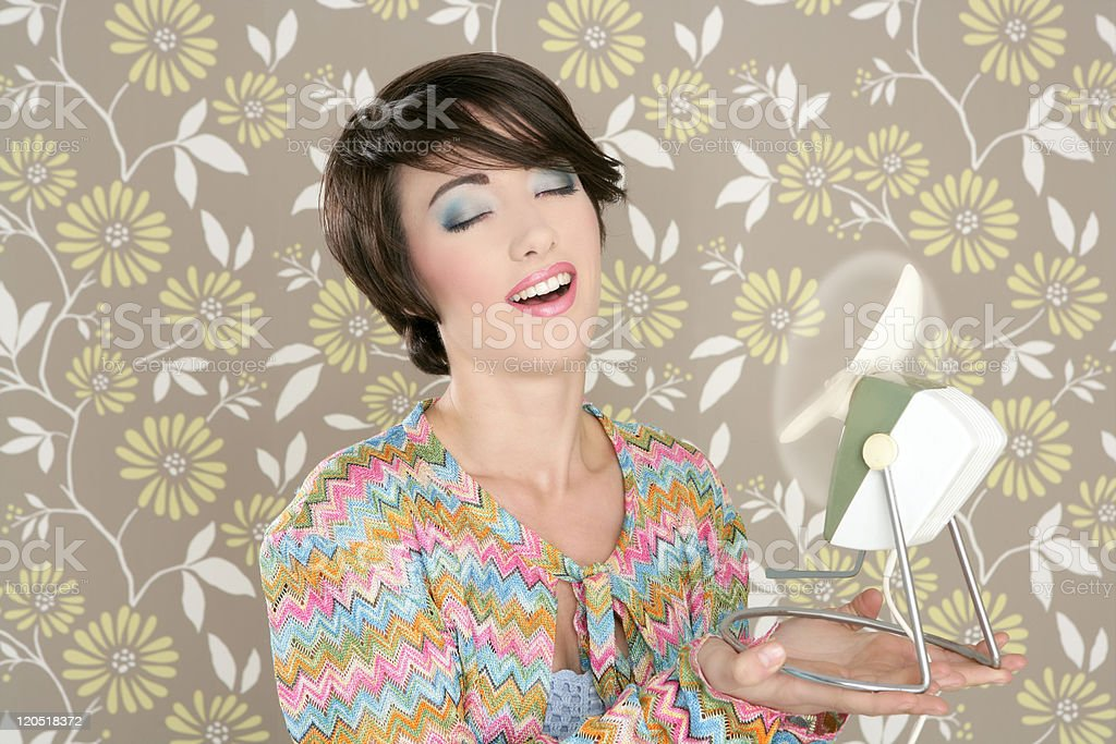 Retro air fan 60s vintage woman portraitl wallpaper royalty-free stock photo
