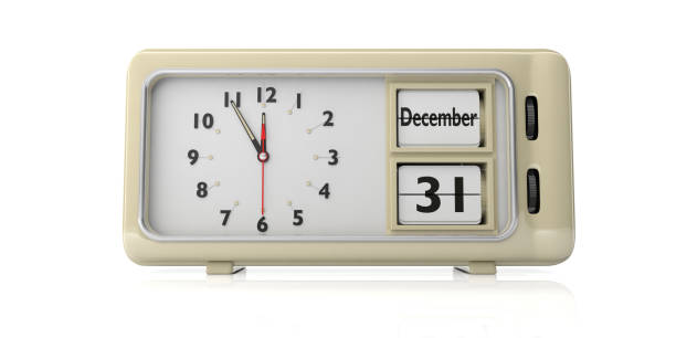Retro alarm clock with date December 31st isolated on white background. 3d illustration stock photo