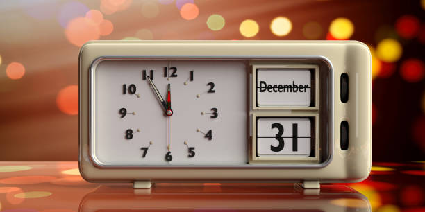 Retro alarm clock with date December 31st on festive bokeh background. 3d illustration stock photo