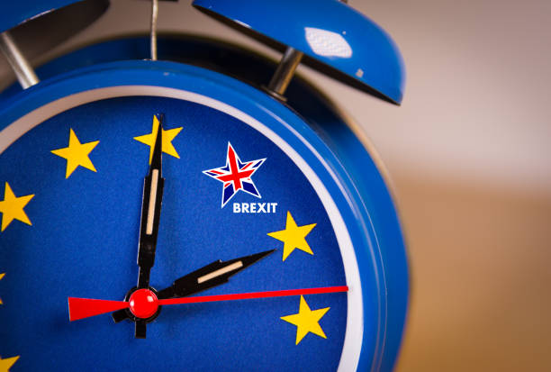 Retro alarm EU clock representing the countdown until Brexit. stock photo